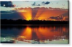 Orange Gods - Sunrise Panorama Acrylic Print by Geoff Childs