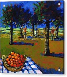 Orange Picking Acrylic Print by Paul Powis
