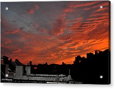 Orange Sky From Brooklyn Roof Acrylic Print by Diane Lent