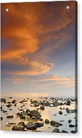 Orange Sunset At The Rocks Acrylic Print by Guido Montanes Castillo