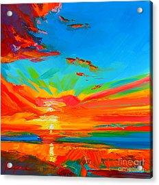 Orange Sunset Landscape Acrylic Print by Patricia Awapara