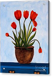 Orange Tulips On A Blue Buffet Acrylic Print by Barbara Griffin