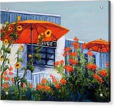 Orange Umbrellas Acrylic Print by Candy Mayer