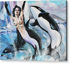 Orca Mermaid Acrylic Print by Karon Melillo DeVega