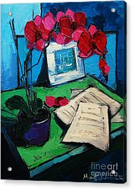 Orchid And Piano Sheets Acrylic Print by Mona Edulesco