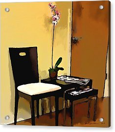 Orchid By A Chair Acrylic Print by Robert Smith