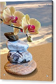 Orchids And Pebbles On Sand Acrylic Print by Gill Billington