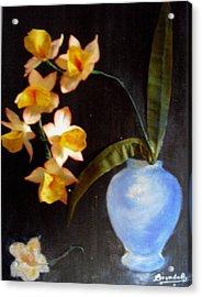 Orchids In A Vase Acrylic Print by Brenda Almeida-Schwaar