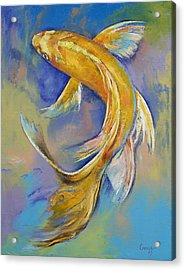 Orenji Butterfly Koi Acrylic Print by Michael Creese