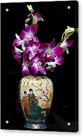 Oriental Orchids. Acrylic Print by Terence Davis