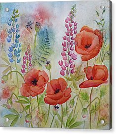 Oriental Poppies Meadow Acrylic Print by Carla Parris