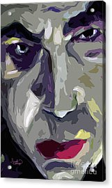 Original Abstract Art Bela Lugosi Dracula Acrylic Print by Ginette Callaway