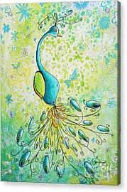 Original Acrylic Bird Floral Painting Peacock Glory By Megan Duncanson Acrylic Print by Megan Duncanson