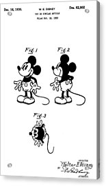 Original Mickey Mouse Patent Acrylic Print by Dan Sproul