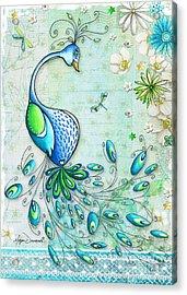 Original Peacock Painting Bird Art By Megan Duncanson Acrylic Print by Megan Duncanson