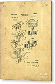 Original Us Patent For Lego Acrylic Print by Edward Fielding