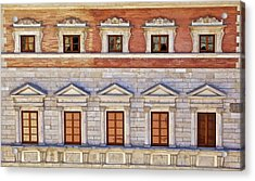 Ornate Carved Stone Windows Of A Government Building In Tuscany Acrylic Print by David Letts