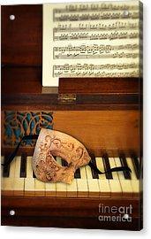 Ornate Mask On Piano Keys Acrylic Print by Jill Battaglia