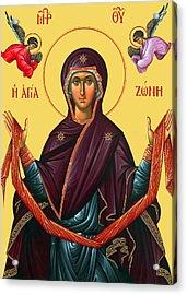 Orthodox Icon Of Mary Acrylic Print by Munir Alawi
