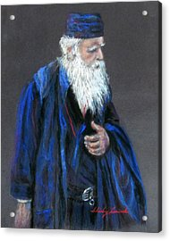 Orthodox Priest From Athens Greece Acrylic Print by Shirley Leswick