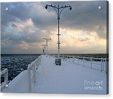 Oshawa Pier In December Acrylic Print by Avis  Noelle