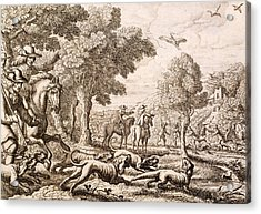Otter Hunting By A River, Engraved Acrylic Print by Francis Barlow