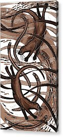 Otter With Eel, 2013 Woodcut Acrylic Print by Nat Morley
