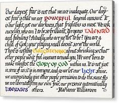 Our Deepest Fear Acrylic Print by Sondra Venable