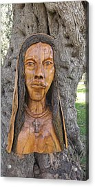 Our Lady Olive Wood Sculpture Acrylic Print by Eric Kempson
