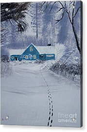 Our Little Cabin In The Snow Acrylic Print by Ian Donley