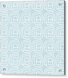 Out Of The Box Blue And White Pattern Acrylic Print by Linda Woods