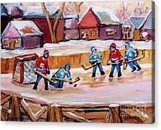 Outdoor Rink Hockey Game In The Village Hockey Art Canadian Landscape Scenes Carole Spandau Acrylic Print by Carole Spandau