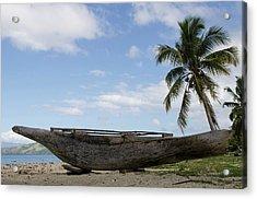 Outrigger Fishing Canoe, Kioa Island Acrylic Print by Pete Oxford