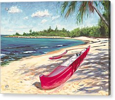 Outrigger - Haleiwa Acrylic Print by Steve Simon