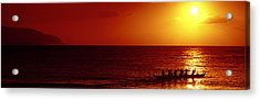 Outrigger Sunset Acrylic Print by Sean Davey