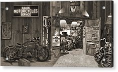Outside The Old Motorcycle Shop - Spia Acrylic Print by Mike McGlothlen
