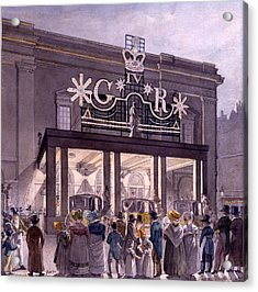 Outside The Theatre Royal, Drury Lane Acrylic Print by Robert Blemell Schnebbelie