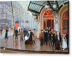 Outside The Vaudeville Theatre Acrylic Print by Jean Beraud