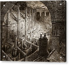 Over London Acrylic Print by Gustave Dore