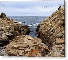 Overcast Day At Pebble Beach Acrylic Print by Glenn McCarthy Art and Photography
