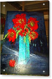 Oversized Poppies With Apple Acrylic Print by Anna Tolleson