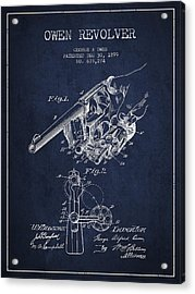 Owen Revolver Patent Drawing From 1899- Navy Blue Acrylic Print by Aged Pixel