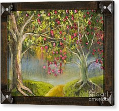 Oz Apple Orchard With Gold Leaf By Vic Mastis Acrylic Print by Vic  Mastis