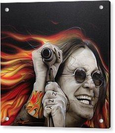 Ozzy Osbourne - 'ozzy's Fire' Acrylic Print by Christian Chapman Art