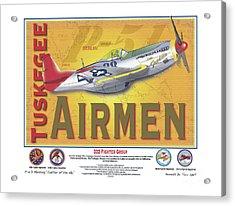P-51 D Tuskegee Airmen Acrylic Print by Kenneth De Tore
