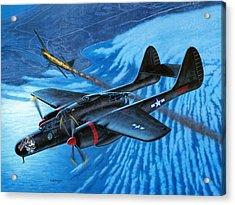 P-61 Black Widow  Caught In The Web Acrylic Print by Stu Shepherd