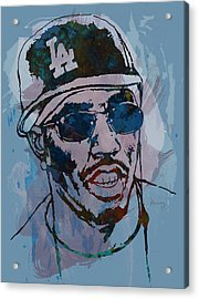 P Diddy - Stylised Etching Pop Art Poster Acrylic Print by Kim Wang