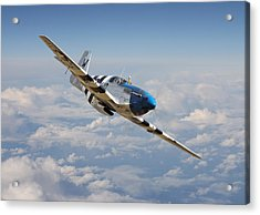 P51 Mustang - Symphony In Blue Acrylic Print by Pat Speirs