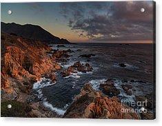 Pacific Coast Golden Light Acrylic Print by Mike Reid