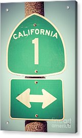 Pacific Coast Highway Sign California State Route 1  Acrylic Print by Paul Velgos
